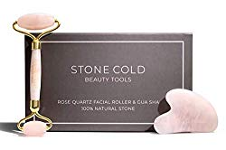Rose Quartz Roller for Face-Natural Authentic Crystal-Jade Roller Gua Sha Alternative-Reduces Puffiness & Wrinkles-Anti Aging Beauty Massager for Eyes, Neck, Cheeks, Forehead-No Squeaking, Durable