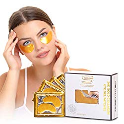 Under Eye Patches- Eye Mask for puffy eyes, dark circles – under eye gel Pads with hyaluronic acid -Collagen Serum for undereye Bags Treatment,Gold Anti Wrinkle pad,Natural Hydrogel sheet 15 pairs