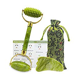 Ziranling Jade Roller for Face, Gua Sha Scraping Massage Tool Set -100% Real Natural Jade Roller- Acupuncture Anti Aging Firming Skin Facial Roller, Face Massager – for Face, Eye, Neck and Forehead