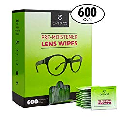 Eyeglass Cleaner Lens Wipes – 600 Pre-Moistened Cleaning Cloths in Hangable Box for Wall | Glasses Cleaner Wipe Safely Cleans Eye Glasses, Sunglasses, Screens, Electronics & Camera Lense | Streak-Free