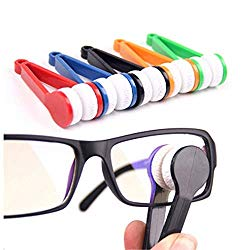 Mini Sun Glasses Eyeglass Microfiber Spectacles Cleaning Clip Soft Brush Cleaning Tool Microfiber Glasses Eyeglasses Cleaner – 5 Pack