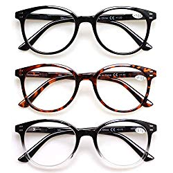 3 Pack Reading Glasses Spring Hinge Stylish Readers Black/Tortoise for Men and Women (3 Mix, 1.5)