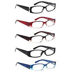 5 Pack Spring Hinge Reading Glasses Rectangular Fashion Quality Readers for Men and Women (5 Pack Mix, 1.75)