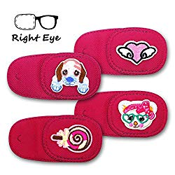 Astropic 4Pcs Eye Patches for Kids Girls Boys Eye Patch for Glasses Medical Patches for Adults Children with Lazy Eye Amblyopia Strabismus and After Eye Surgery (Right Eye, Pink)
