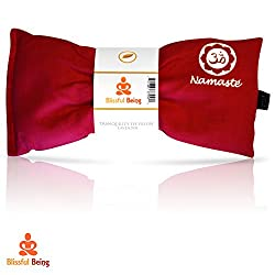 Blissful Being Namaste Yoga Eye Pillow with Lavender – Lavender Eye Pillow Perfect for Savasana, Meditation, Relaxation, Yoga and Stress Relief – Soft, Organic Cotton (Pink)