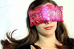 Candi Andi Handmade Eye Pillow | Stress, Anxiety, Migraine Relief, Sleep Aid, Aromatherapy | Hot/Cold | Flax Seed Filled | Lavender Scented | Satin Brocade & Crushed Velvet | Fuchsia Garden – TEPL-FG