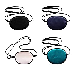 ConStore 4 PCS Adults Silk Eye Patch Elastic Eye Patches Amblyopia Strabismus Corrected Visual Acuity Recovery Eye Patch Mask Cover Pads