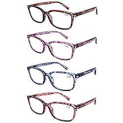 DOOViC 4 Pack Computer Reading Glasses Blue Light Blocking Anti Eyestrain Spring Hinge Stylish Readers for Women 1.50 Strength