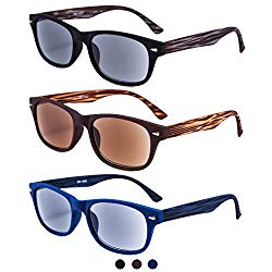 EYEGUARD 3 Pack Unisex Classic of Style Sunglasses Readers UV400 Protection Outdoor Reading Glasses for Men and Women 2.00 – Not Bifocals