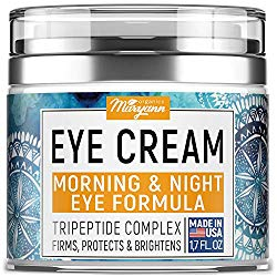 MARYANN Organics Eye Cream – Natural Formula with Hyaluronic Acid, Vitamin E & Aloe Vera – Made in USA – Anti Aging Cream for Women – Reduce Dark Circles, Puffiness, Under Eye Bags, Wrinkles – 1,7 OZ