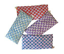Peacegoods Scented Eye Pillows – Pack of (4) – Soft Cotton 4 x 8.5 – Organic Lavender Flax Seed – 4 x 8.5 Hand Block Print India – Leaf Turquoise Orange Purple Aqua