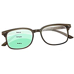 Progressive Reading Glasses Men & Women – No Line Gradual Multifocal Lenses, 3 Magnification Strengths in 1: +150 Reading, 100 Computer Desk, 50 Distance/Surroundings | Bonus Pouch Included