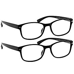 Reading Glasses 2 Pack Black_ Always Have a Timeless Look, Crystal Clear Vision, Comfort Fit with Sure-Flex Spring Hinge Arms & Dura-Tight Screws 100% Guarantee +2.00