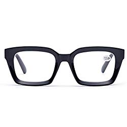 Retro Desinger 50mm Large Lens Square Reading Glass Big Eyeglass Frames (Black, 1.5)