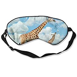 Sleep Mask Giraffe Family Eye Cover Blackout Eye Masks,Soothing Puffy Eyes,Dark Circles,Stress,Breathable Blindfold